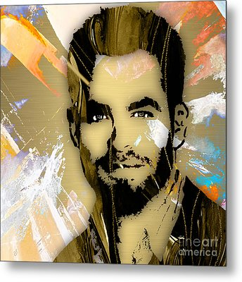 Chris Pine Collection Metal Print by Marvin Blaine