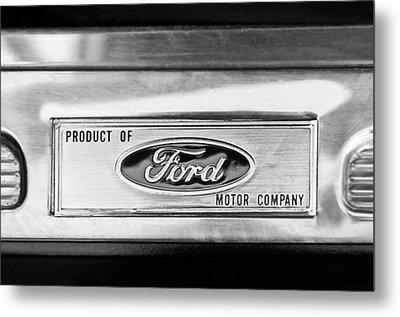 Powered By Ford Emblem -0307bw Metal Print by Jill Reger