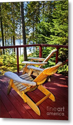 Forest Cottage Deck And Chairs Metal Print by Elena Elisseeva