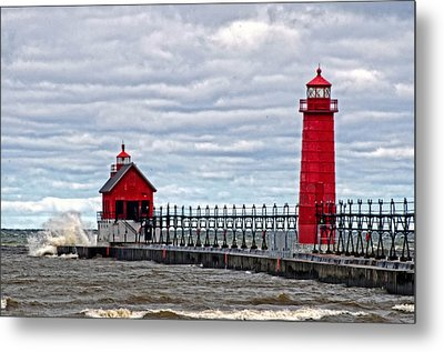 Grand Haven Lighthouse Metal Print by Cheryl Cencich