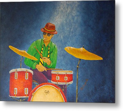 Jazz Drummer Metal Print by Pamela Allegretto