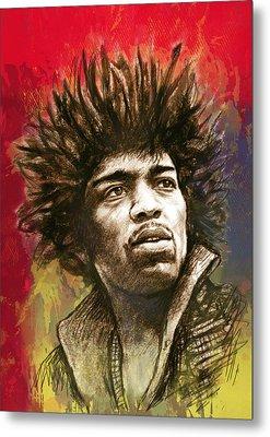 Jimi Hendrix Stylised Pop Art Drawing Potrait Poster Metal Print by Kim Wang