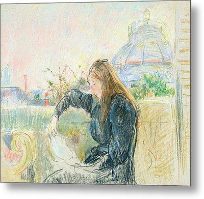 On The Balcony Metal Print by Berthe Morisot