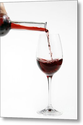 Pouring Red Wine Into Glass Metal Print by Patricia Hofmeester