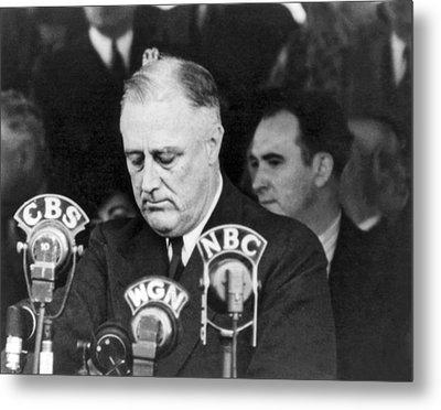 President Franklin Roosevelt Metal Print by Underwood Archives