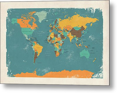 Retro Political Map Of The World Metal Print by Michael Tompsett
