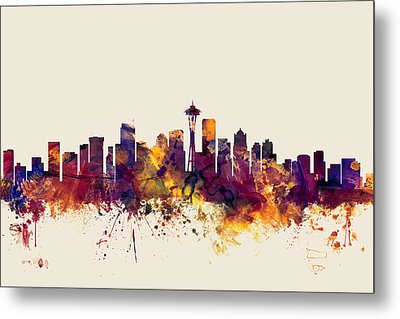 Seattle Washington Skyline Metal Print by Michael Tompsett
