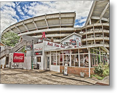 Shadow Of The Stadium Metal Print by Scott Pellegrin
