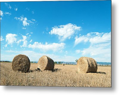 Straw Bales At A Stubbel Field Metal Print by Svetoslav Radkov