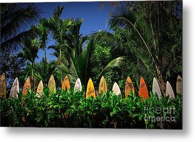 Surf Board Fence Maui Hawaii Metal Print by Edward Fielding