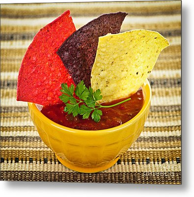 Tortilla Chips And Salsa Metal Print by Elena Elisseeva