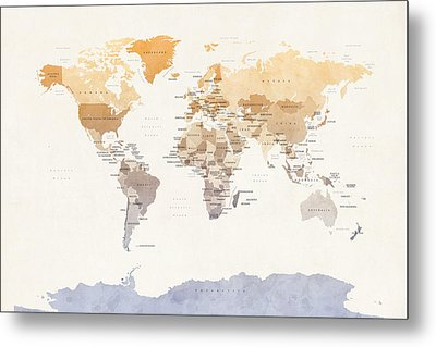Watercolour Political Map Of The World Metal Print by Michael Tompsett