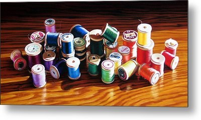 30 Wooden Spools Metal Print by Dianna Ponting