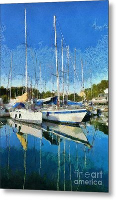 Reflections In Mikrolimano Port Metal Print by George Atsametakis