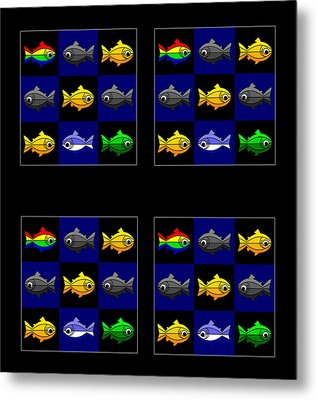 36 Trouts In The Golden Temple Lake In Kyoto On Brown Metal Print by Asbjorn Lonvig