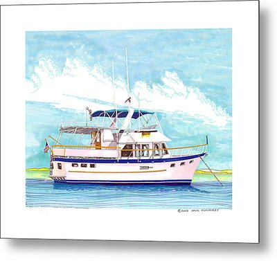 37 Foot Marine Trader 37 Trawler Yacht At Anchor Metal Print by Jack Pumphrey