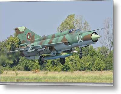 A Bulgarian Air Force Mig-21 Metal Print by Giovanni Colla