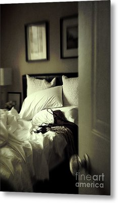 Bedroom Scene With Under Garments On Bed Metal Print by Sandra Cunningham