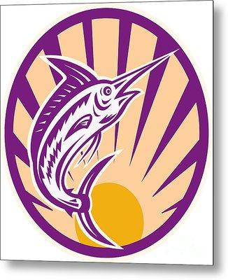 Blue Marlin Fish Jumping Retro Metal Print by Aloysius Patrimonio