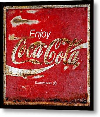 Coca Cola Vintage Rusty Sign Black Border Metal Print by John Stephens