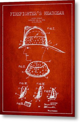 Firefighter Headgear Patent Drawing From 1926 Metal Print by Aged Pixel