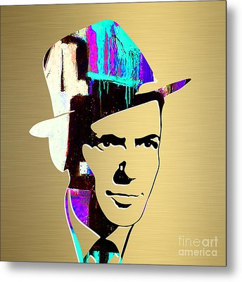 Frank Sinatra Gold Series Metal Print by Marvin Blaine