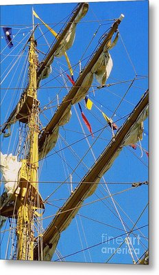 I Thought I Saw Three Sailing Ships Three Sailing Ships Early In The Morn N Metal Print by Michael Hoard