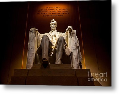 Lincoln Memorial At Night - Washington D.c. Metal Print by Gary Whitton