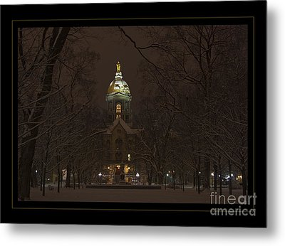 Notre Dame Golden Dome Snow Poster Metal Print by John Stephens