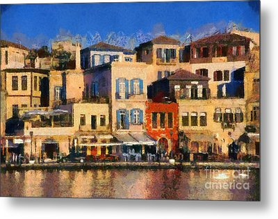 Painting Of The Old Port Of Chania Metal Print by George Atsametakis