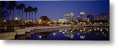 Reflection Of Buildings In Water Metal Print by Panoramic Images