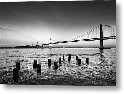 Suspension Bridge Over Pacific Ocean Metal Print by Panoramic Images