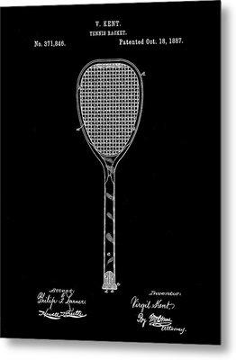 Tennis Racket Patent 1887 - Black Metal Print by Stephen Younts