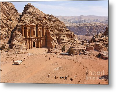 The Monastery At Petra In Jordan Metal Print by Robert Preston