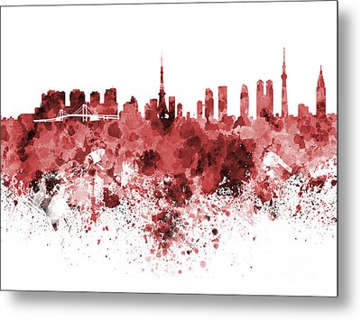 Tokyo Skyline In Watercolor On White Background Metal Print by Pablo Romero