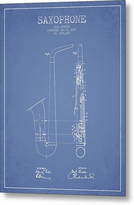 Saxophone Patent Drawing From 1899 - Light Blue Metal Print by Aged Pixel