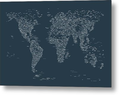 World Map Of Cities Metal Print by Michael Tompsett