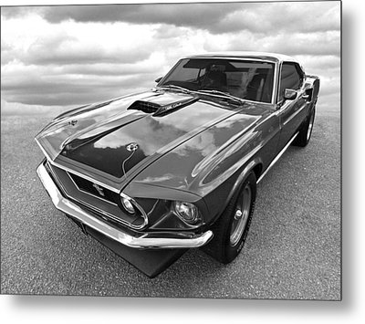 428 Cobra Jet Mach1 Ford Mustang 1969 In Black And White Metal Print by Gill Billington