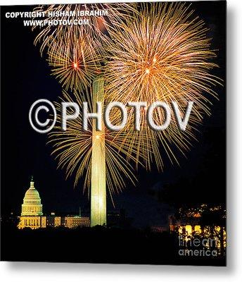 4th Of July Fireworks Over Washington Dc Metal Print by Hisham Ibrahim