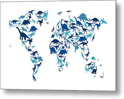 Dinosaur Map Of The World Map Metal Print by Michael Tompsett