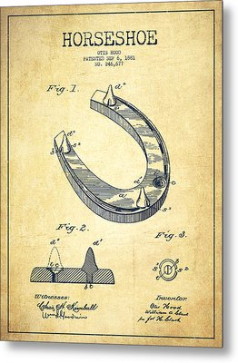 Horseshoe Patent Drawing From 1881 Metal Print by Aged Pixel