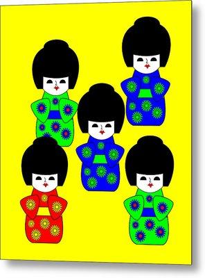 5 Japanese Dolls On Yellow Metal Print by Asbjorn Lonvig