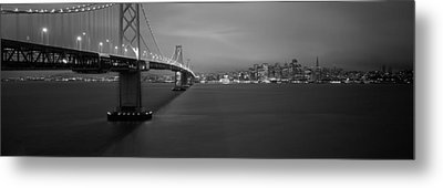 Low Angle View Of A Suspension Bridge Metal Print by Panoramic Images