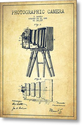 Photographic Camera Patent Drawing From 1885 Metal Print by Aged Pixel