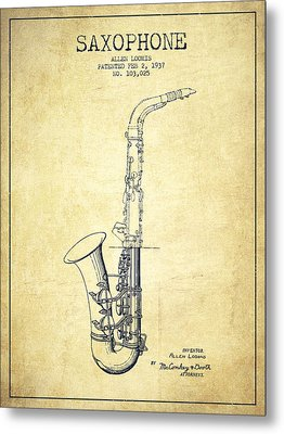 Saxophone Patent Drawing From 1937 - Vintage Metal Print by Aged Pixel
