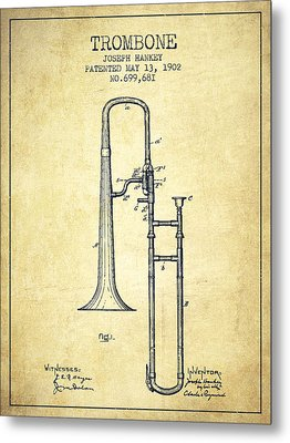 Trombone Patent From 1902 - Vintage Metal Print by Aged Pixel