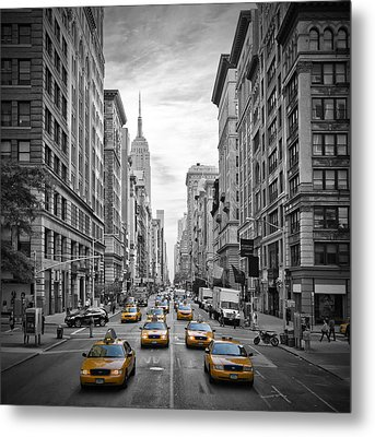 5th Avenue Yellow Cabs Metal Print by Melanie Viola