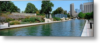 Canal In A City, Indianapolis Canal Metal Print by Panoramic Images