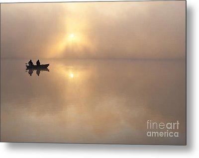 Fisherman In Boat, Lake Cassidy Metal Print by Jim Corwin
