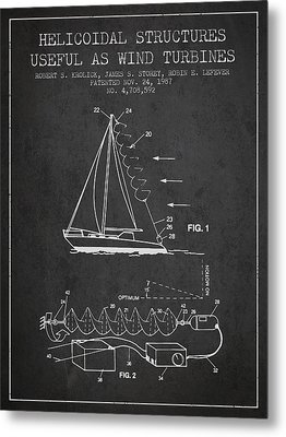 Helicoidal Structures Useful As Wind Turbines Patent From 1987 - Metal Print by Aged Pixel